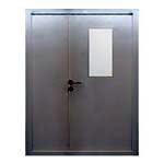 Противопожарная двупольная металлическая дверь с остеклением ei 60