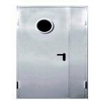 Противопожарная двупольная металлическая дверь ei 90 с остеклением круглым стеклом