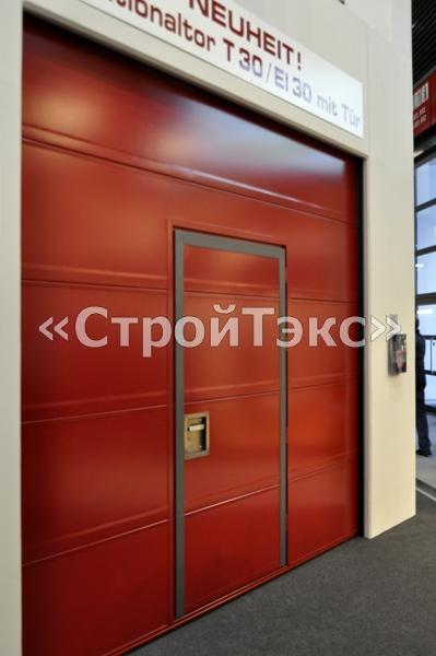 противопожарные секционные ворота с калиткой